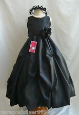 NEW BLACK WITH SASH COLOR TODDLER PAGEANT BRIDAL WEDDING PARTY FLOWER GIRL DRESS