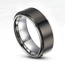 Men's 8mm Tungsten Carbide Ring Black Polish Wedding Band Size 9-14