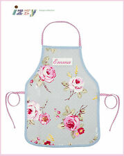 PERSONALISED SHABBY VINTAGE CHIC ENGLISH ROSE OILCLOTH APRON ADULT & CHILD SIZES