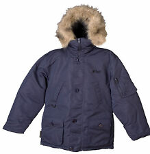 Boy's Parka Coat Winter Jacket WARMest faux fur hood BLACK or NAVY Size 8-18 NWT