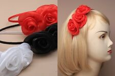 Girl/Ladies Narrow Ribbon Alice Band Hairband Headband satin fabric rosettes