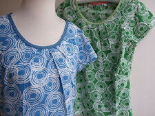 Boden Ripple printed Cotton Top sizes 8 10 12 14 Blue or Green