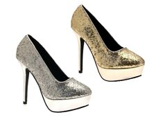 WOMENS GLITTER PLATFORM FULL TOE STILETTO HIGH HEEL LADIES COURT PARTY SHOES 3-8