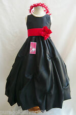 BLACK/RED SASH COLOR TODDLER PAGEANT BRIDAL WEDDING PARTY FLOWER GIRL DRESS