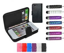 Leather Wallet Flip Case Book Style Cover Cards & Cash Holder For iPhone 4 & 4S
