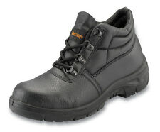 Black Leather Steel Toecap work boots sizes 2 - 14 Welding / Site / Farm PSF 100