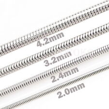 "2.0mm 2.4mm 3.2mm 4.2mm TopQuality Stainless Steel Snake Chain Necklace 18""~30"""