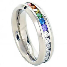 Pride Shack - Lesbian Gay Pride Wedding Ring Band Rainbow String Smooth Full CZ