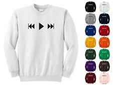 Music Buttons Rewind Play Fast Forward Tape CD Player Funny Crewneck Sweatshirt
