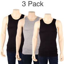 3 Mens Color Tank Top 100% Cotton A-Shirt Wife Beater Ribbed Lot Pack Undershirt