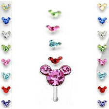 Nose Ring Stud Mouse AB Gem 20g Minnie Mickey Blue,AB,Aqua,Red,Green,Purple,Pink