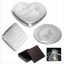 Engraved Handbag- Compact Mirror Bridesmaid -  Flower Girl Personalised Gift