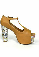 JEFFREY CAMPBELL FOXY CARTOON NUDE LEATHER PEEP TOE PLATFORM HEEL LITA DESIGNER