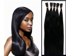 "100Stands 18""-28"" Stick Tip Pre Bonded Fusion Remy Human Hair EXTENSION #1 black"