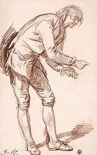 A4+ Size Print Greuze Jean Baptiste Study For Paralytic . Figure A Young Man Lea
