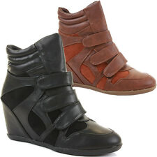 Ladies Hi Tops Trainer Wedge Wedges  Platform Ankle Boots Shoes Size
