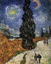 Photo Print Road with Cypress and a Star Gogh, Vincent Van - in various sizes jw