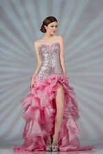 Sequin Chiffon Beaded High Low Skirt Ruffled Gown Prom Homecoming Elegant Dress