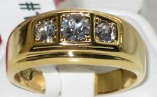 TK946G MANS 3 STONE 3CT  SIMULATED DIAMONDS MENS RING ALL SIZES SIGNET
