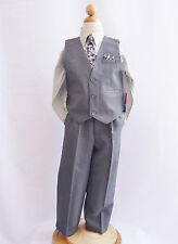 NAVY TURQUOISE FUCHSIA PURPLE BURGUNDY GRAY BOY VEST 4 PIECES SET FORMAL SUIT