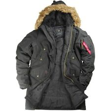 Alpha Industries N-3B Slim Fit Cotton Parka - Black or Olive in Medium, XL & 2XL