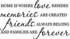 Home is where Love Memories Friend vinyl wall decal quote sticker Inspirational