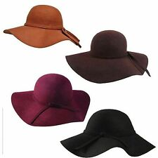 Womens New 100% wool wide brim crushable floppy cloche hat 5 colors