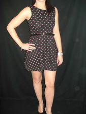 New Womens Ladies Belted Sleeveless Flared pockadot Skater dress Sizes 10,12,14