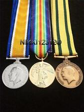 MINIATURE WW1 BWM, VICTORY MEDAL & TERRITORIAL WAR MEDAL TRIO + MOUNTING OPTIONS