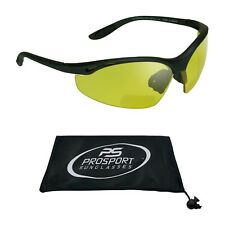 Yellow Night Vision Z87 Safety BIFOCAL Glasses Sport Wrap Computer Motorcycle