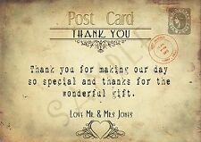 PERSONALISED VINTAGE CHIC POSTCARD WEDDING THANK YOU CARDS x 10