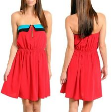 Attractive Red Hot Tube Strapless Dress collar top American made Size S , M , L