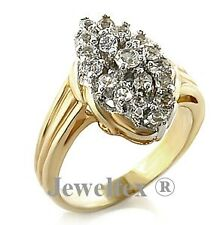 18ct Two Tone Gold GP Cocktail / Engagement Ring Set with Austrian Crystals