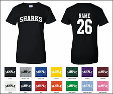 Sharks Custom Personalized Name & Number Woman's T-shirt