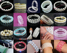 Lot 1-10Rows More Color Imitated Pearl Bead Stretchy Crystal Rhinestone Bracelet
