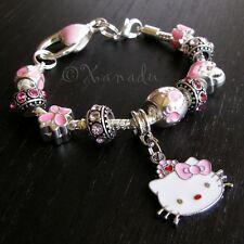 Pink Hello Kitty Princess European Charm Bracelet With Red Heart Crown Charm