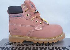 LADIES WOMENS LEATHER PINK STEEL TOE CAP WORK SITE/SAFETY ANKLE BOOTS/SHOE 4-8