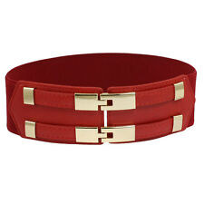 """2.2"""" Width Faux Leather Stretchy Waistband Belt for Ladies"""