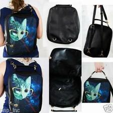 Unisex Vintage Backpack Style Hipster Mustache Faux Leather Lazer Cats Keep Calm