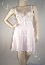 WOMENS SLEEPWEAR SEXY SHORT PINK CHEMISE NIGHTIE WITH LACE BODICE