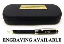 POLISHED BLACK & GILT BALLPOINT PEN & CASE Fine Quality Writing Gift CAN ENGRAVE
