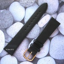 Black Real Genuine Leather Watch Strap Band Gold Coloured Buckle UK Freepost