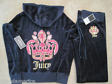NWT Juicy Couture Blue Royal Seal Velour Hoodie Pant Tracksuit Set XS S M L $256