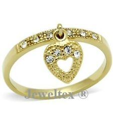18K Gold (GP)  Heart Friendship Ring Set with Brilliant Swarovski Crystals.