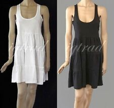 COTTON SUN DRESS PLAIN TIERED WHITE OR BLACK AVAILABLE IN SIZES 8 TO 16 BNWT