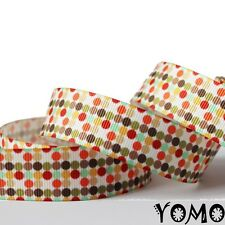 """7/8""""22mm Colorful Dots Printed grosgrain ribbon 10/50/100yards hairbow Wholesale"""
