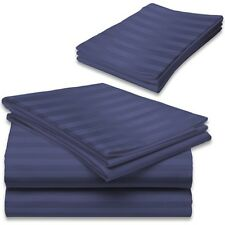 Perfectly Drop Length 1000TC Navy Blue Stripe 1PC Tailored Bed Skirt 100% Cotton