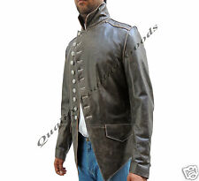Genuine Handmade Mens Military Style Antique Brown Leather Steampunk Jacket