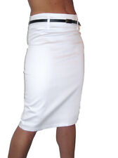 NEW (2347) smart sateen skirt with FREE belt white size 8-18