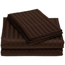 1000TC Chocolate Striped 100% Egyptian Cotton Select Sizes & Bed Item's